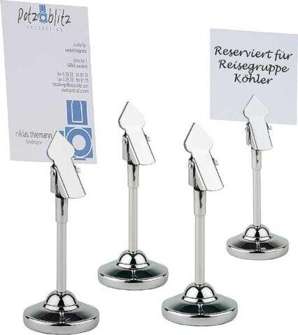 Tischkartenhalter, 4er Set, Ø 4 cm, Höhe 10 cm-Gastro-Germany