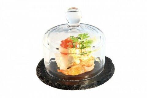 Buffetvitrine Naturschieferplatte mit Glashaube-Gastro-Germany