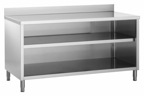 Edelstahl Arbeitsschrank ECO offen, mit Aufkantung 1200x600x850mm-Gastro-Germany