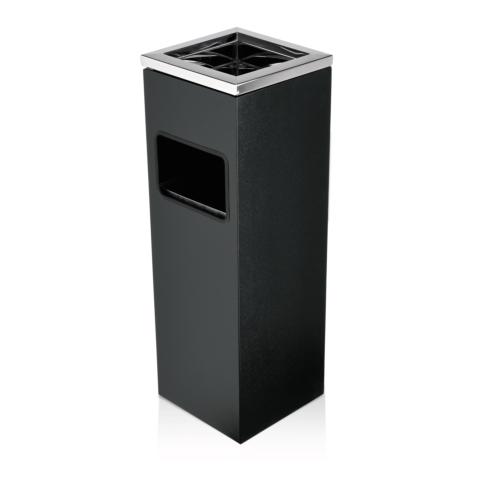 Standascher, 20 x 20 x 60 cm, pulverbeschichteter Stahl schwarz/Edelstahl-Gastro-Germany