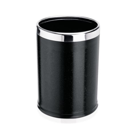 Papierkorb, Ø 22 cm, Höhe 31,5 cm, schwarz, pulverbeschichtet, Stahl-Gastro-Germany