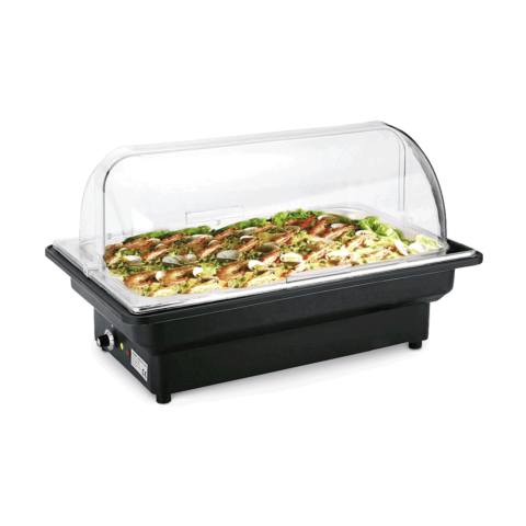 Elektro Chafing Dish GN 1/1 mit Roll Top Deckel,56 x 36 x 32 cm, Chromnickelstahl-Gastro-Germany