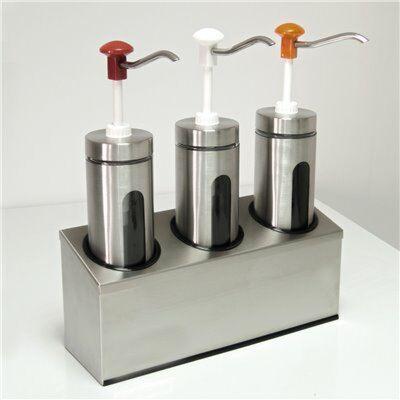 Saucenspender 3 x 2 Liter Edelstahlbehälter mit Druckknopf und Sichtfenster von Schneider-Gastro-Germany