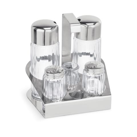 Menage, 5-teilig, Essig & Öl, Salz & Pfeffer,Zahnstocher, Glas-Gastro-Germany