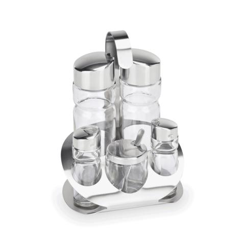 Menage, 5-teilig, Essig & Öl, Salz & Pfeffer,Senfglas, Glas-Gastro-Germany
