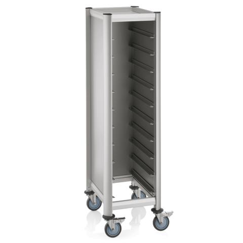 GN Tablettwagen Trolley Mensa, 1/1 für 10Tabletts, silber, 60,5 x 44,5 x 165 cm, MDF/Alu-Gastro-Germany