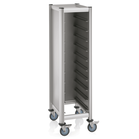 EN Regalwagen Trolley Mensa, für 10 ENTabletts, silber, 60 x 50 x 165 cm, MDF/Alu-Gastro-Germany