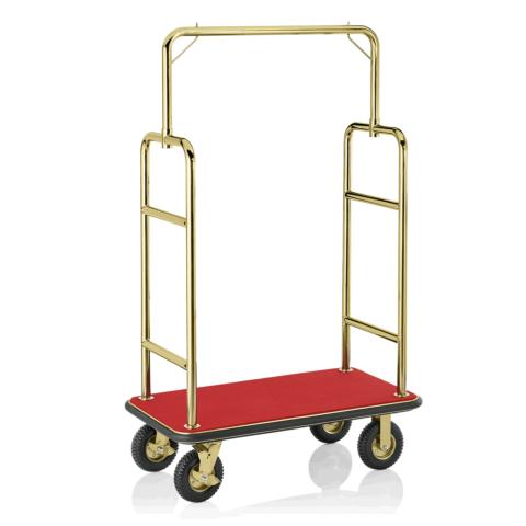 Gepäckwagen, 113 x 62 x 183 cm, goldfarben, roter Teppich, Edelstahl-Gastro-Germany