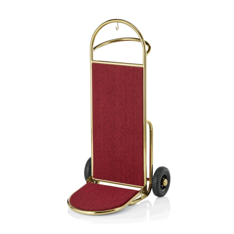 Gepäckkarre, 61 x 70,5 x 121 cm, goldfarben, roter Teppich, Edelstahl-Gastro-Germany