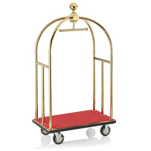 Gepäckwagen, 112 x 61 x 186 cm, goldfarben, roter Teppich-Gastro-Germany