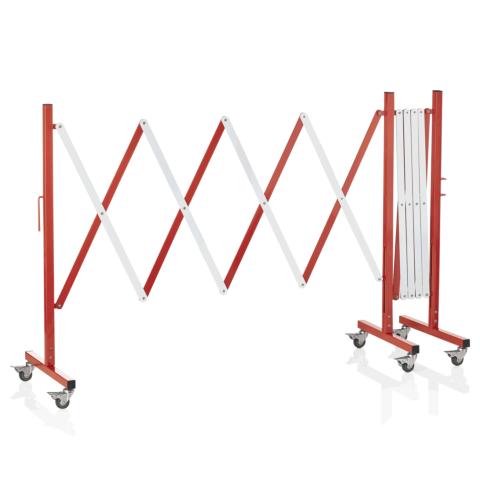 Scherensperre mit 6 Rollen, bis 4 m, rot/weiß, Aluminium-Gastro-Germany