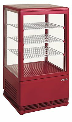 SARO Mini-Umluftkühlvitrine SC 70 rot-Gastro-Germany