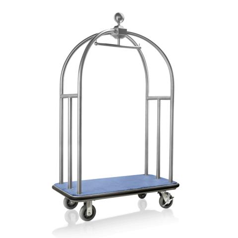 Gepäckwagen, 112 x 61 x 186 cm, silberfarben gebürstet, Teppich blau