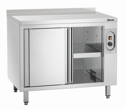 Wärmeschrank mit Schiebetüren und Zwischenboden, Breite 1000mm, mit Aufkantung-Gastro-Germany