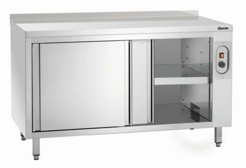Wärmeschrank mit Schiebetüren und Zwischenboden, Breite 1400mm, mit Aufkantung-Gastro-Germany