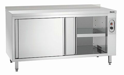 Wärmeschrank mit Schiebetüren und Zwischenboden, Breite 1600mm, mit Aufkantung-Gastro-Germany