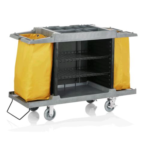 Zimmerservicewagen, 2 Wäschesäcke gelb, 150 x 54 x 100 cm, Kunststoff-Gastro-Germany