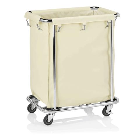 Wäschewagen weiß, 65 x 45 x 84 cm, verchromt/Nylon-Gastro-Germany