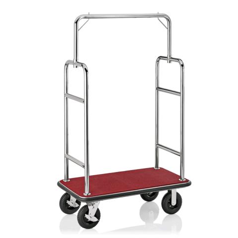 Gepäckwagen, 113 x 62 x 183 cm, silberfarben,roter Teppich, Edelstahl-Gastro-Germany