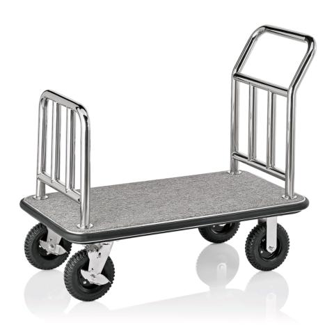 Hotel Transportwagen Trolley, 113 x 61,5 x 98 cm grauer Teppich, Edelstahl-Gastro-Germany