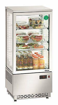 Mini-Kühlvitrine 78L, Edelstahl, 4 °C bis 12 °C, 430x390x986 mm-Gastro-Germany