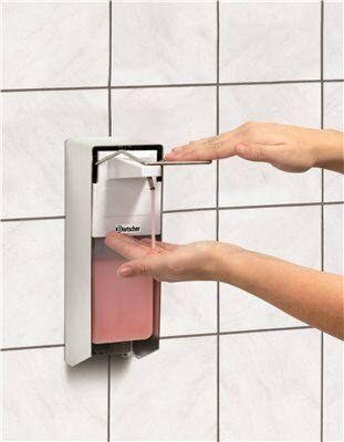 Seifenspender 1 Liter für Wandmontage aus Aluminium-Gastro-Germany