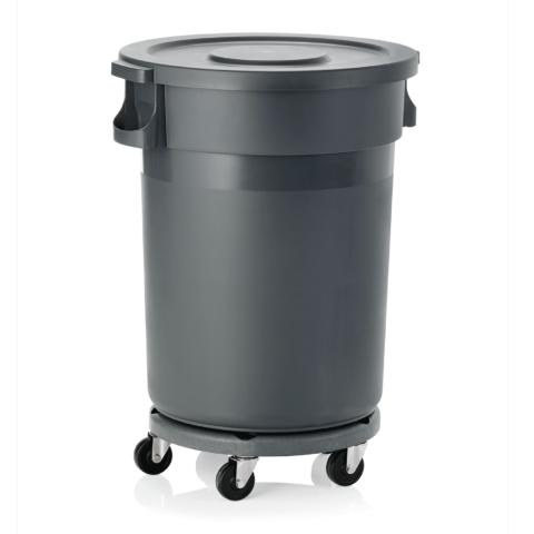 Abfallbehälter mit Transporttrolley und Flachdeckel, 120 ltr., Ø 46 cm, Polypropylen-Gastro-Germany