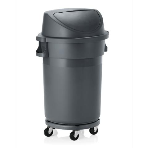 Abfallbehälter mit Transporttrolley und Pushdeckel, 120 ltr., Ø 46 cm, Polypropylen-Gastro-Germany