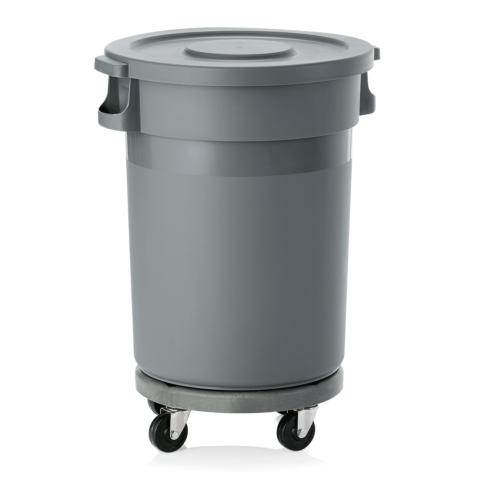 Abfallbehälter mit Transporttrolley und Flachdeckel, 80 ltr., Ø 41 cm, Polypropylen-Gastro-Germany