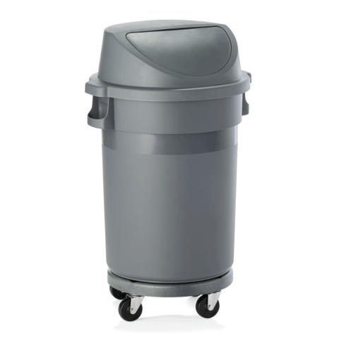Abfallbehälter mit Transporttrolley und Pushdeckel, 80 ltr., Ø 41 cm, Polypropylen-Gastro-Germany