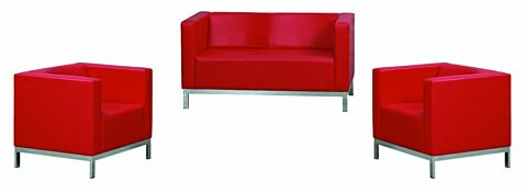 Elips Loungeset, Sofa mit 2 Sesseln in Rot-Gastro-Germany