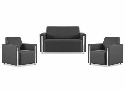 Golf Loungeset, Sofa mit 2 Sesseln in Schwarz-Gastro-Germany