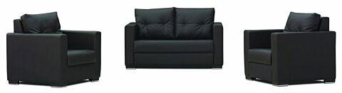 Kristal Loungeset, Sofa mit 2 Sesseln in Schwarz-Gastro-Germany