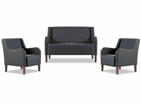 Linea Loungeset, Sofa mit 2 Sesseln in Schwarz-Gastro-Germany