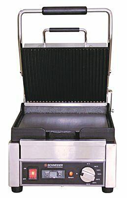 Schneider Edelstahl Kontaktgrill gerillt/glatt, Timer, Grillfläche 24x26cm-Gastro-Germany