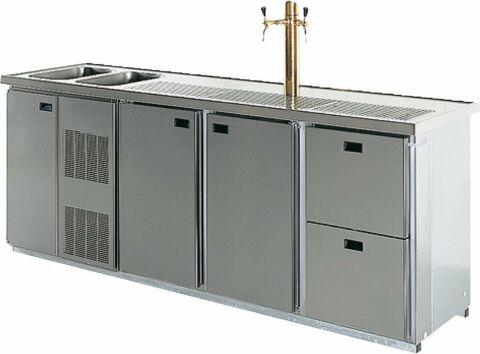 TURIN Cool-Line Getränketheke, 2 Becken, ohne Abdeckung, Breite 2450 mm-Gastro-Germany