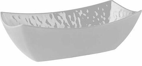 Schüssel, rechteckig TAOaus Melamin, weiß, Steinoptik, 32,5 x 17,5 cm, H: 10 cm-Gastro-Germany