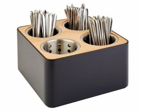 Besteckbehälter, 27 x 27 cm, H: 15 cm, SAN, schwarz, Holz-Gastro-Germany