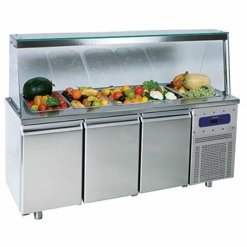 Saladette mit 3 Türen GN 1/1 und Glasstruktur, 5x GN 1/1, -2 °C/+8 °C