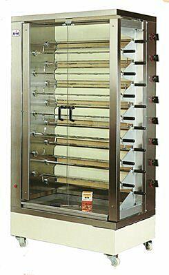 MCM Gas Hähnchengrill doppelreihig 8 EGD mit 15 Spießen für 75-90 Hähnchen-Gastro-Germany