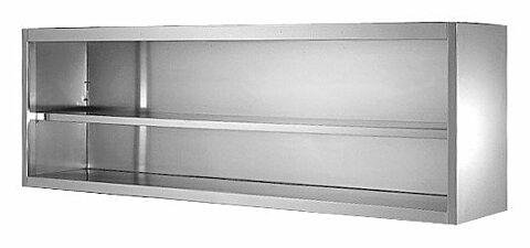 Wandhängeschränke aus Edelstahl, offen 1800 x 400 x 650 mm-Gastro-Germany