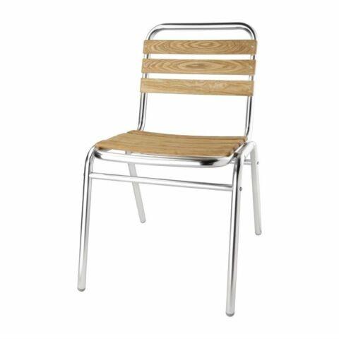 Bistrostuhl KRISTA Alu-Gestell Eschenholz-Sitzfläche, stapelbar