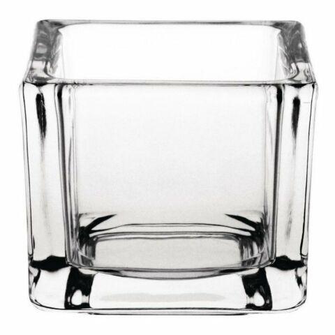 Quadratische Teelichthalter Glas klar (6 Stück)-Gastro-Germany