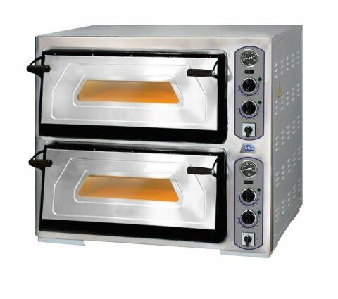 Profi-Line Elektro Pizzaofen 2 Backkammer für 12 Pizzen, 400 V-Gastro-Germany