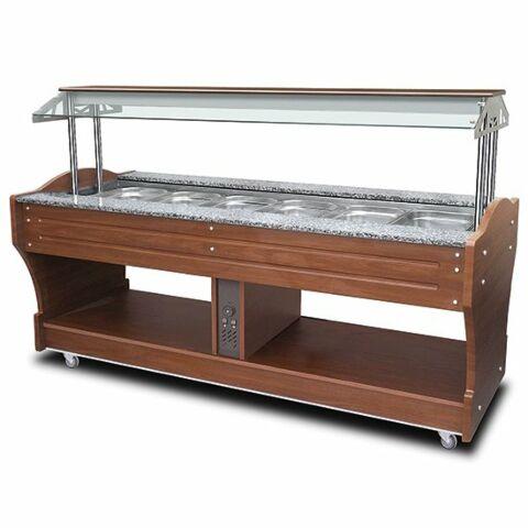 Bainmarie-Buffet, Inselmodell, 6x GN 1/1 h=150 mm