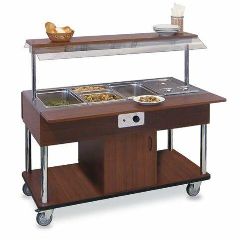 Bainmarie Warm Buffet 4x GN 1/1, Rädern, Holz, mit Tablettrutsche