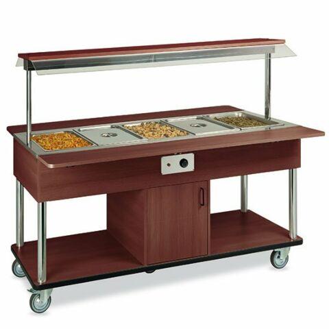 Bainmarie Warm Buffet 5x GN 1/1, Rädern, Holz, mit Tablettrutsche