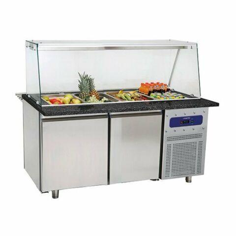 Salat-Kühltheke mit Glasstruktur, für 4x GN, Breite 1400mm