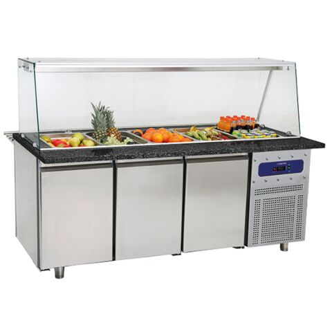 Salat-Kühltheke mit Glasstruktur, für 5x GN, Breite 1865 mm