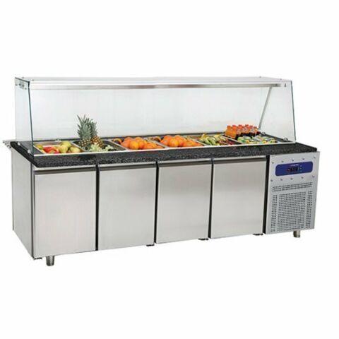 Salat-Kühltheke mit Glasstruktur, für 6x GN, Breite 2330 mm